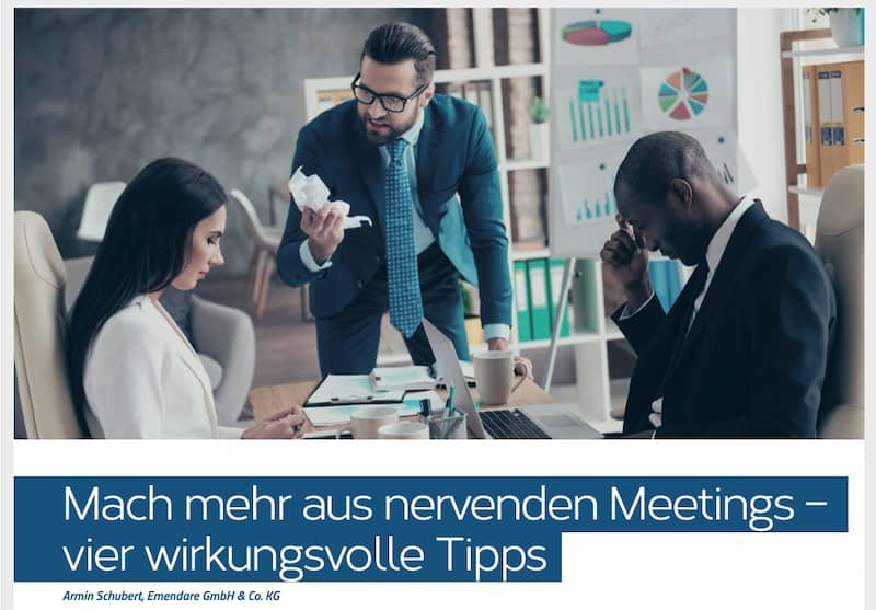 """Bild mit Link zum Artikel """"Mach mehr aus nervenden Meetings – vier wirkungsvolle Tipps"""""""